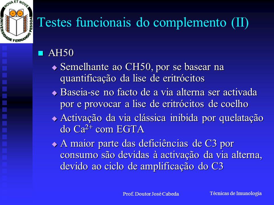 Testes funcionais do complemento (II)