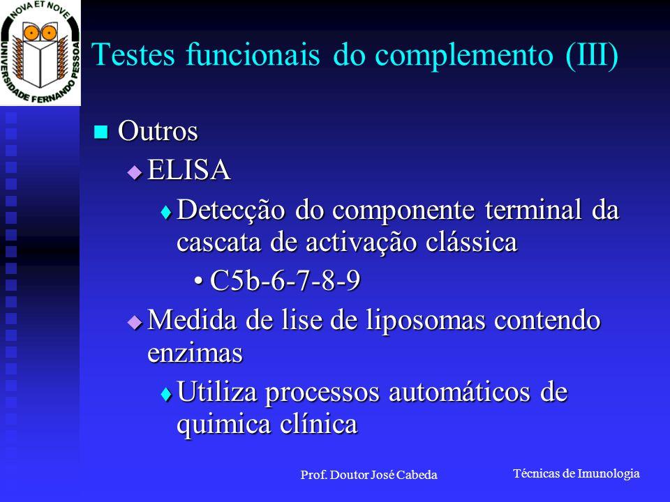 Testes funcionais do complemento (III)