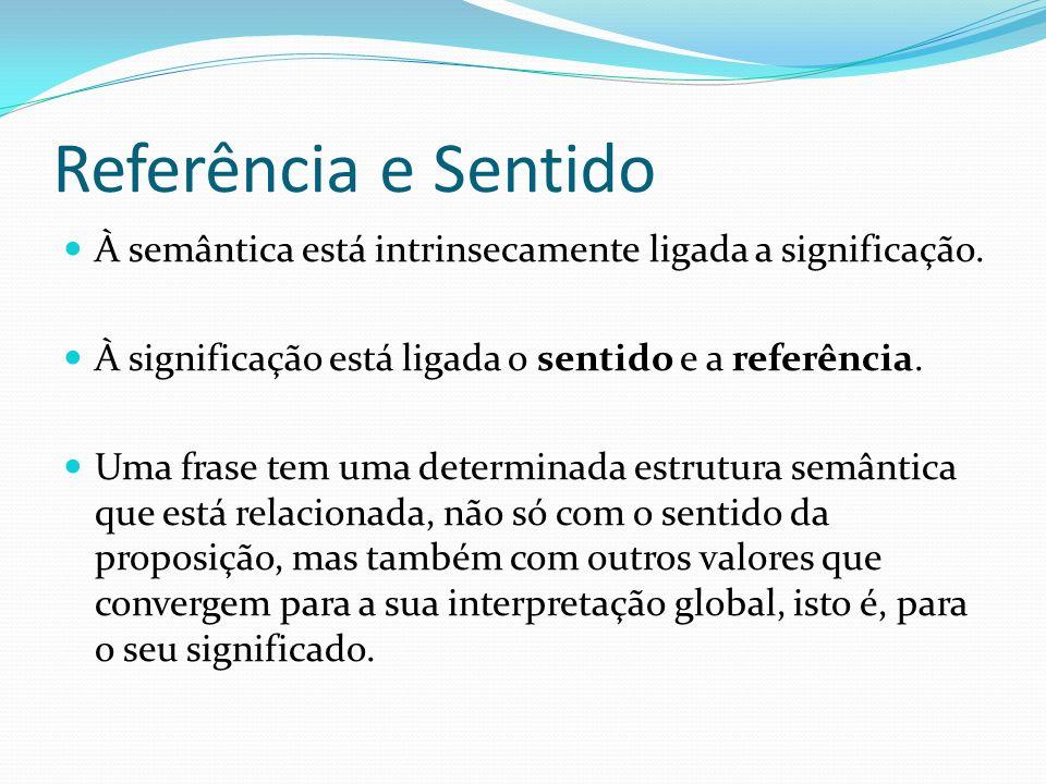 Referência e Sentido À semântica está intrinsecamente ligada a significação. À significação está ligada o sentido e a referência.
