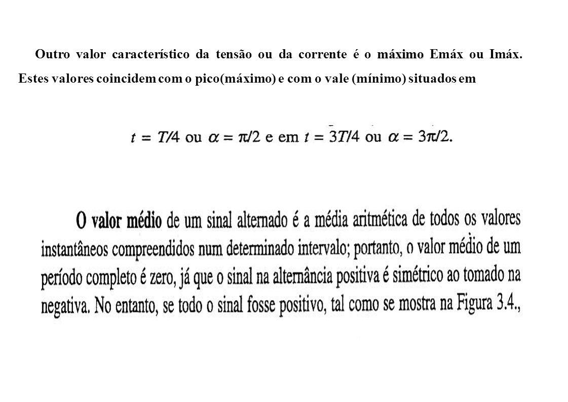 Outro valor característico da tensão ou da corrente é o máximo Emáx ou Imáx.
