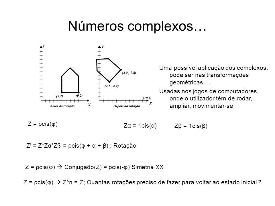 Números complexos… Uma possível aplicação dos complexos, pode ser nas transformações geométricas….