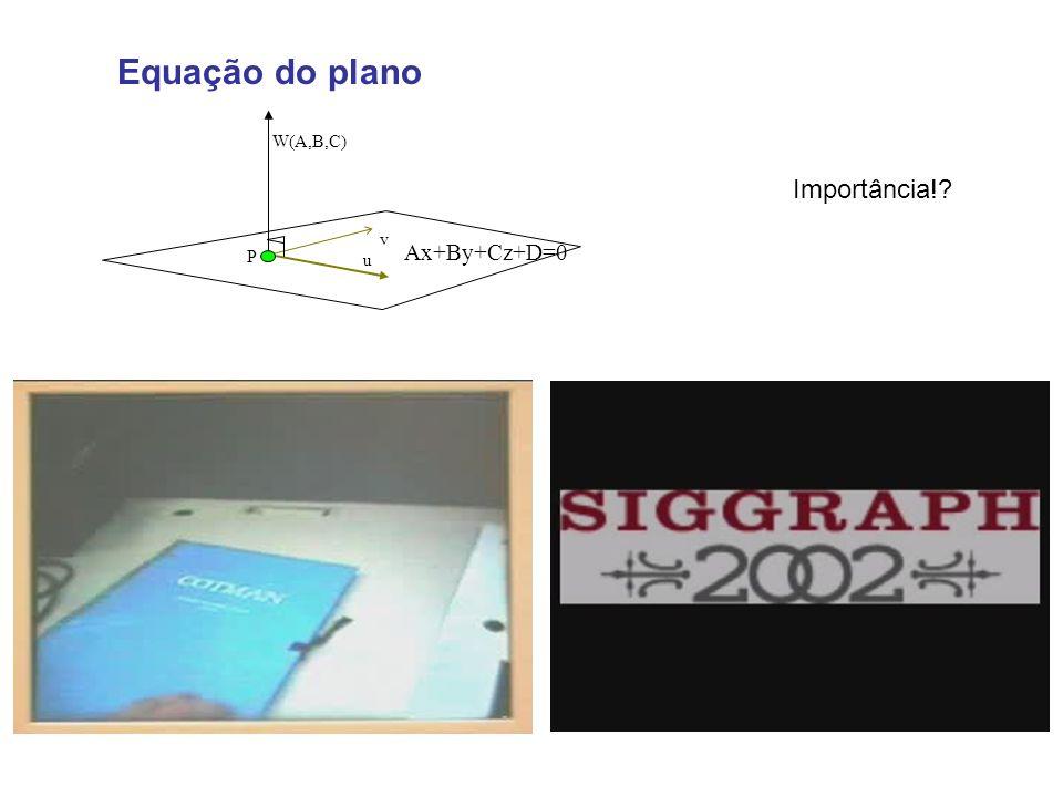Equação do plano u P W(A,B,C) v Ax+By+Cz+D=0 Importância!