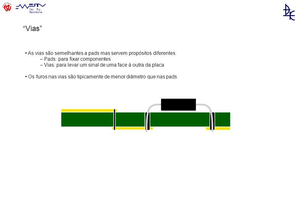 Vias • As vias são semelhantes a pads mas servem propósitos diferentes: – Pads: para fixar componentes.