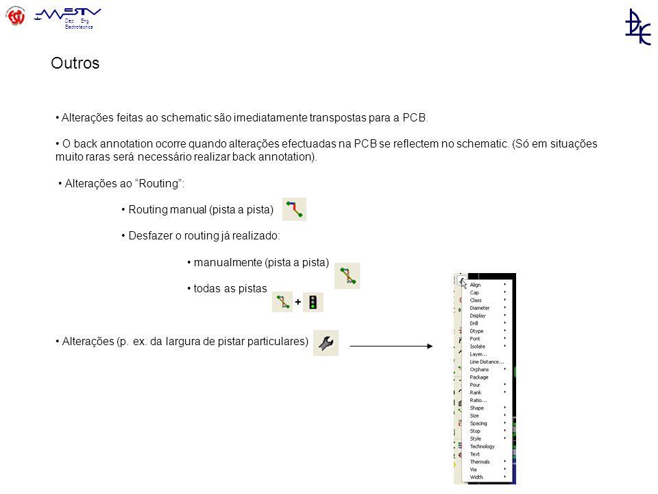 Outros • Alterações feitas ao schematic são imediatamente transpostas para a PCB.