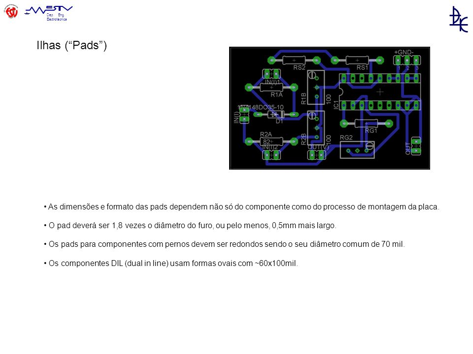 Ilhas ( Pads ) • As dimensões e formato das pads dependem não só do componente como do processo de montagem da placa.