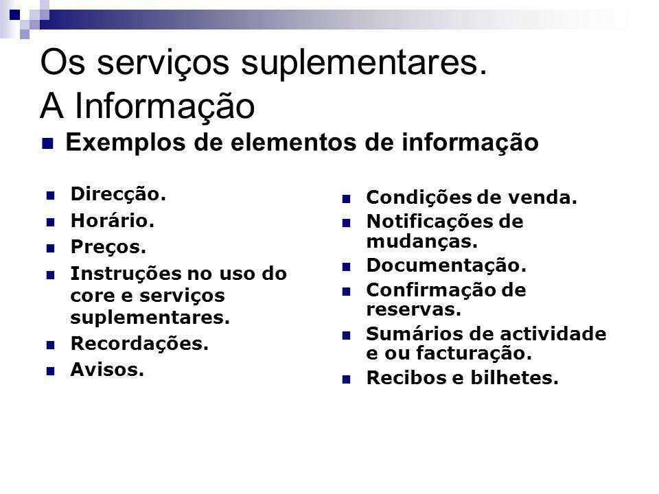 Os serviços suplementares. A Informação