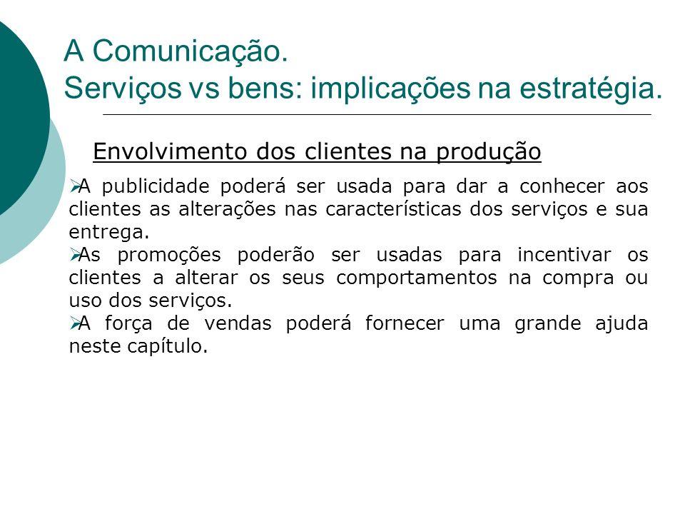 A Comunicação. Serviços vs bens: implicações na estratégia.