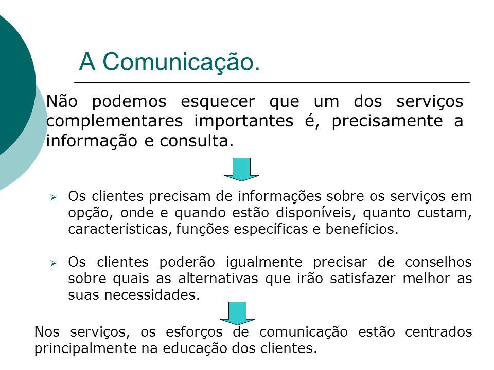 A Comunicação.Não podemos esquecer que um dos serviços complementares importantes é, precisamente a informação e consulta.