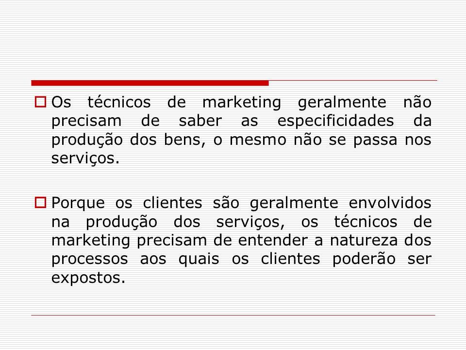 Os técnicos de marketing geralmente não precisam de saber as especificidades da produção dos bens, o mesmo não se passa nos serviços.