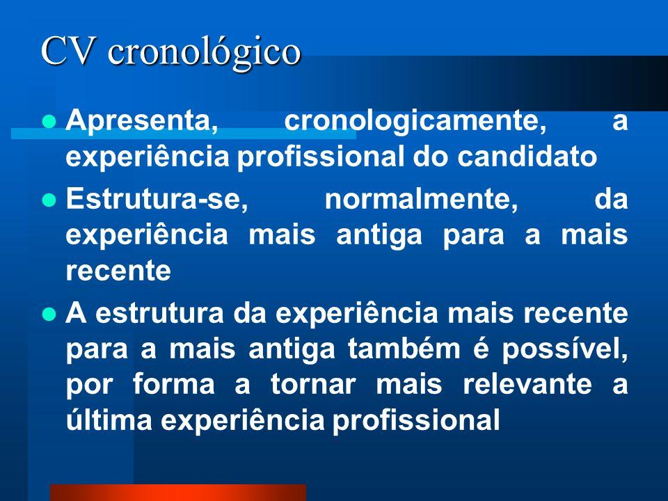 CV cronológico Apresenta, cronologicamente, a experiência profissional do candidato.