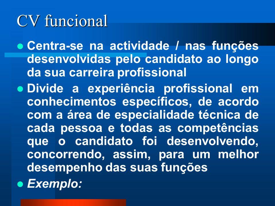 CV funcional Centra-se na actividade / nas funções desenvolvidas pelo candidato ao longo da sua carreira profissional.