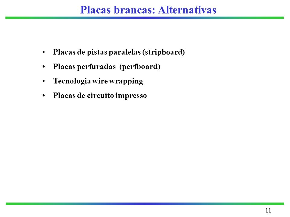 Placas brancas: Alternativas