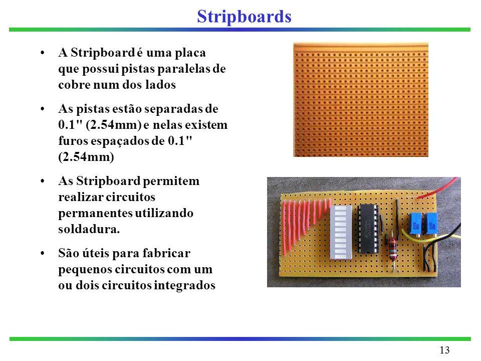 Stripboards A Stripboard é uma placa que possui pistas paralelas de cobre num dos lados.