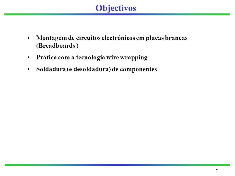 Objectivos Montagem de circuitos electrónicos em placas brancas (Breadboards ) Prática com a tecnologia wire wrapping.