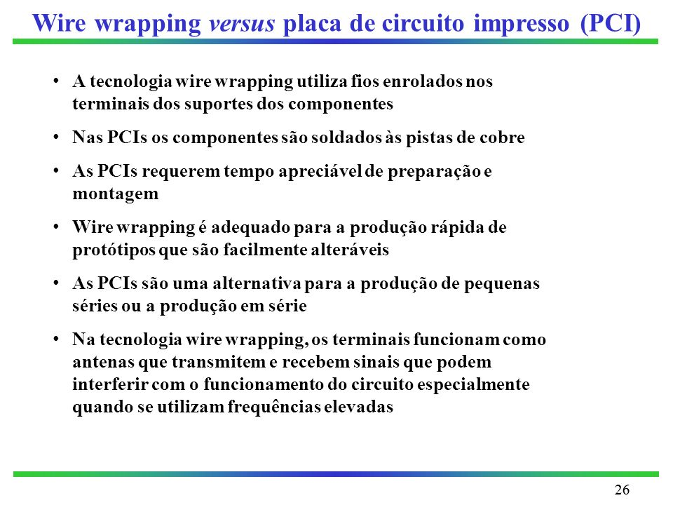 Wire wrapping versus placa de circuito impresso (PCI)
