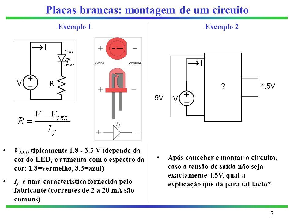 Placas brancas: montagem de um circuito