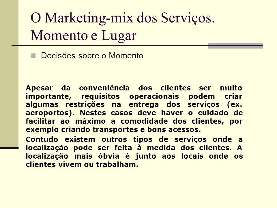 O Marketing-mix dos Serviços. Momento e Lugar