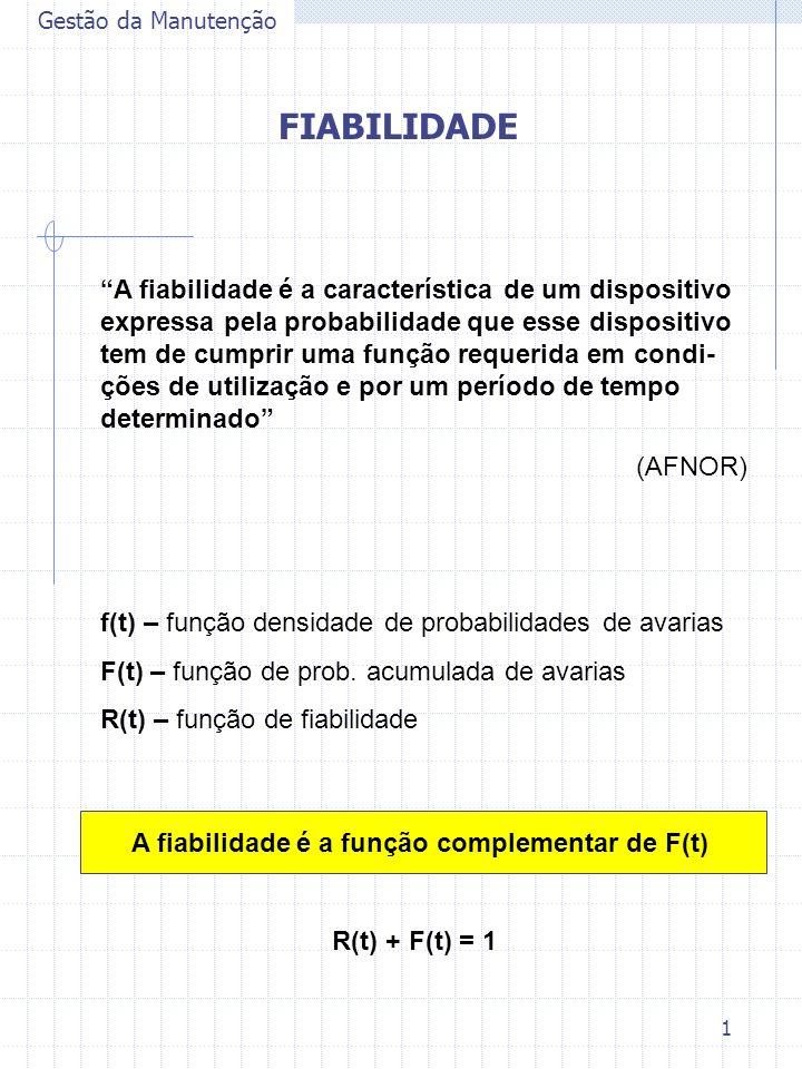 A fiabilidade é a função complementar de F(t)