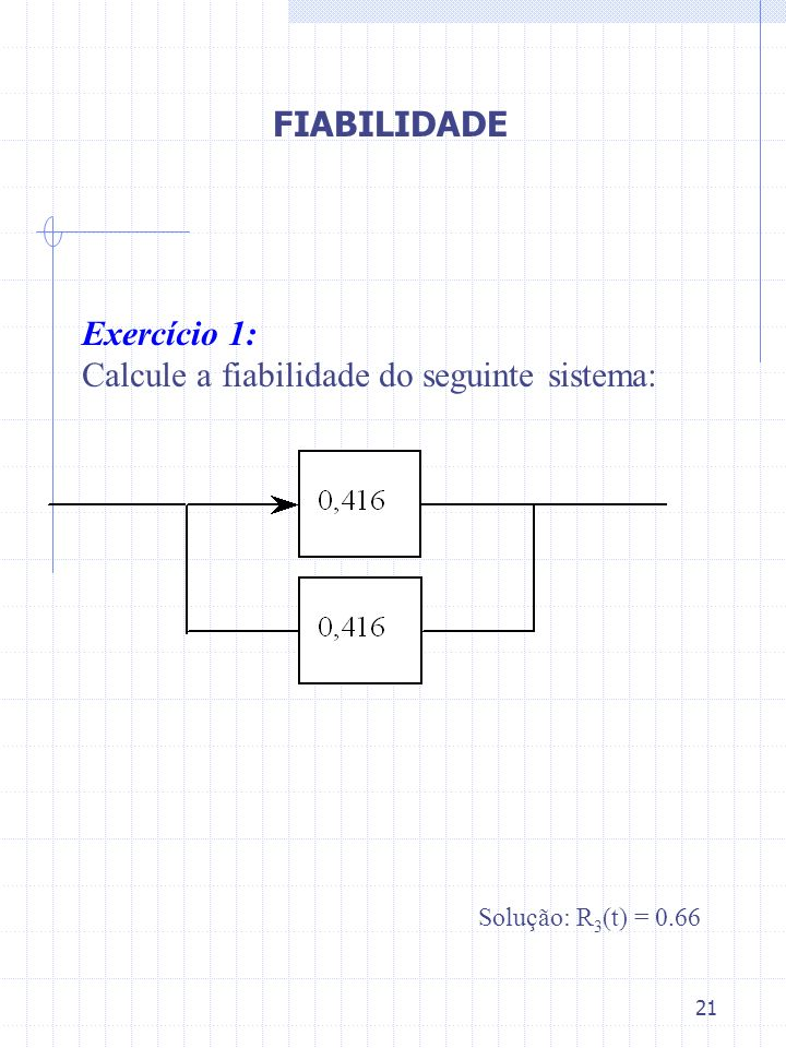 Calcule a fiabilidade do seguinte sistema:
