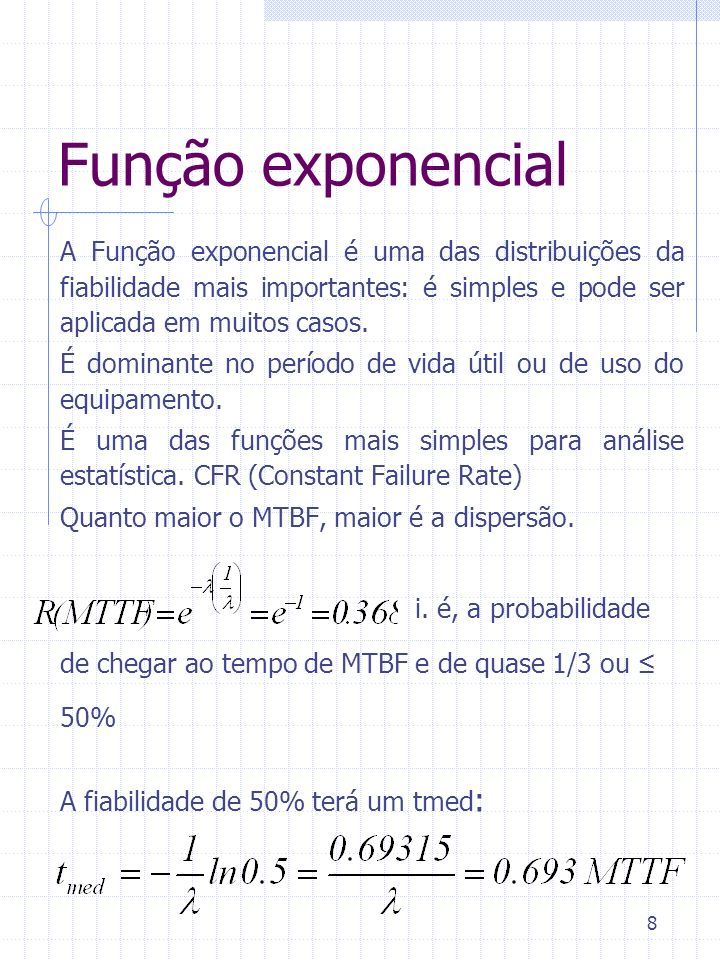 Função exponencial A Função exponencial é uma das distribuições da fiabilidade mais importantes: é simples e pode ser aplicada em muitos casos.
