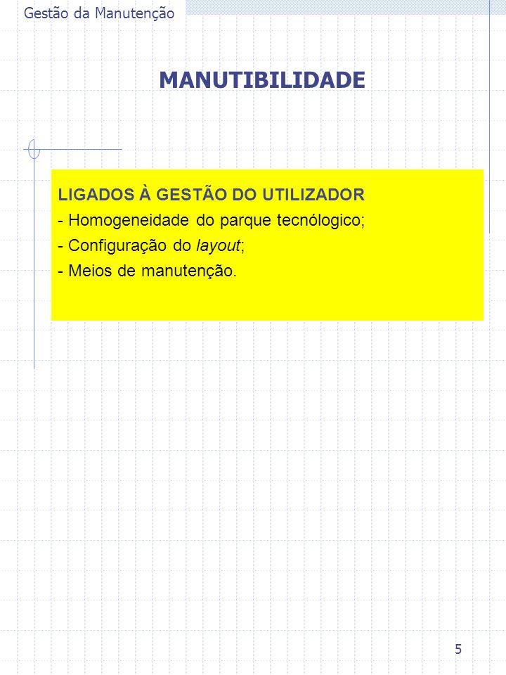 MANUTIBILIDADE LIGADOS À GESTÃO DO UTILIZADOR
