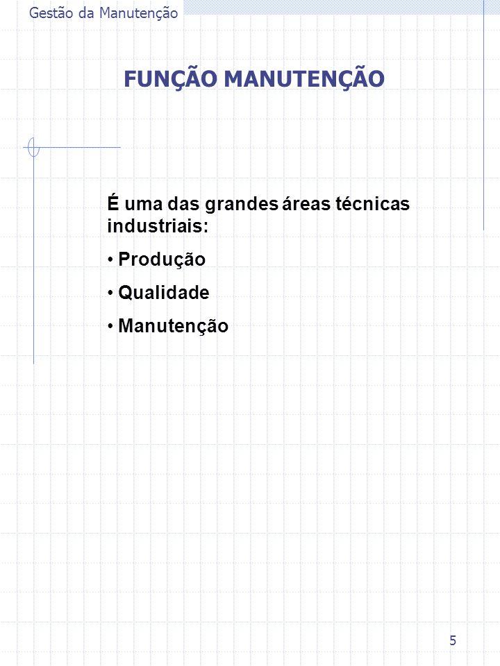FUNÇÃO MANUTENÇÃO É uma das grandes áreas técnicas industriais: