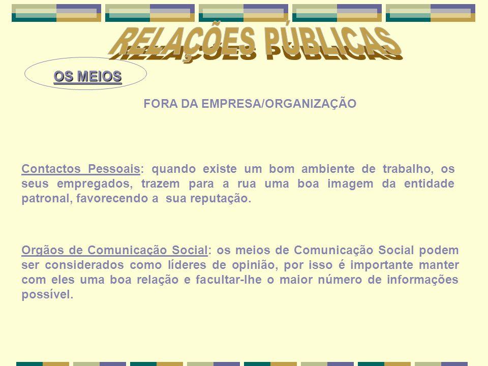RELAÇÕES PÚBLICAS OS MEIOS FORA DA EMPRESA/ORGANIZAÇÃO