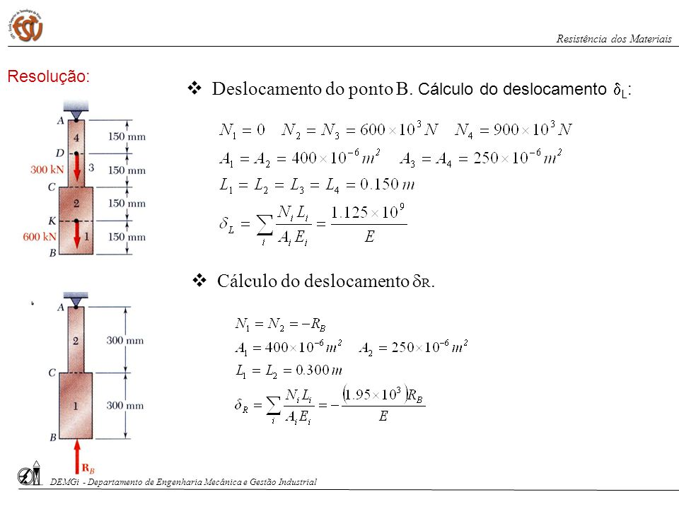 Deslocamento do ponto B. Cálculo do deslocamento L: