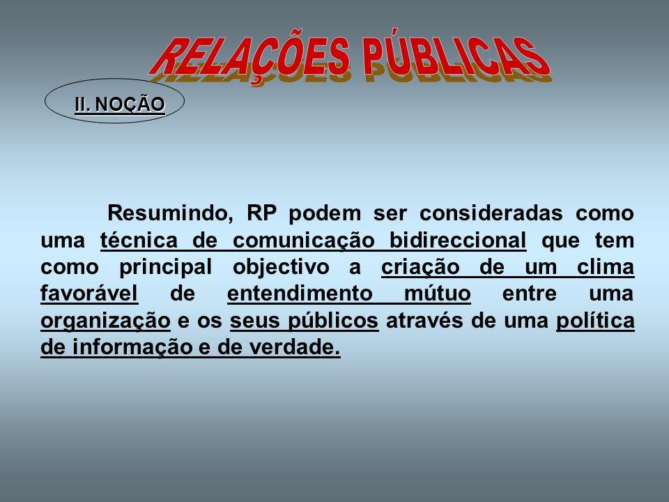 RELAÇÕES PÚBLICAS II. NOÇÃO.