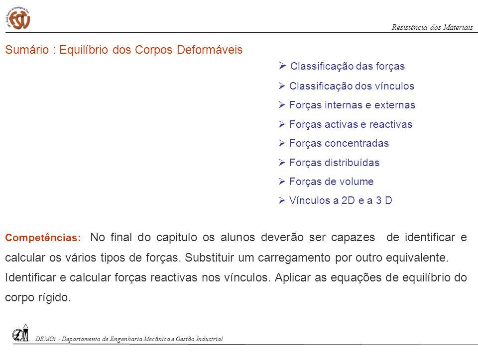 Sumário : Equilíbrio dos Corpos Deformáveis Classificação das forças