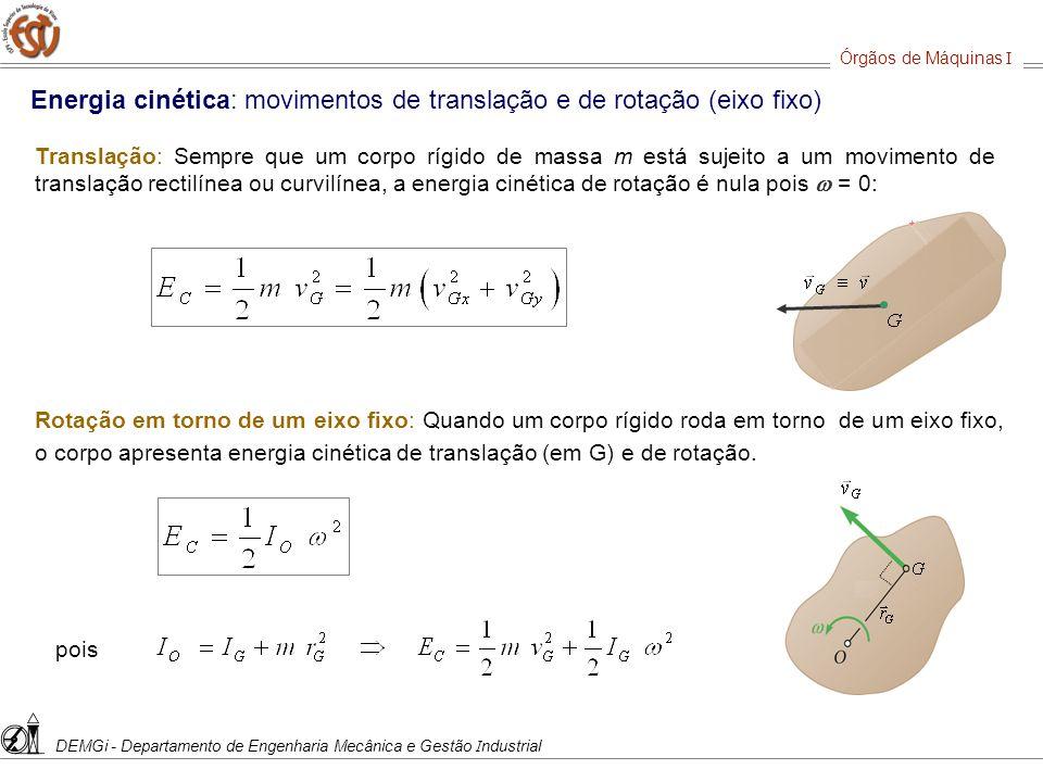 Energia cinética: movimentos de translação e de rotação (eixo fixo)