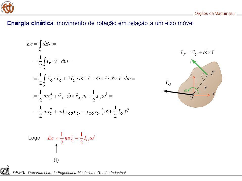 Energia cinética: movimento de rotação em relação a um eixo móvel