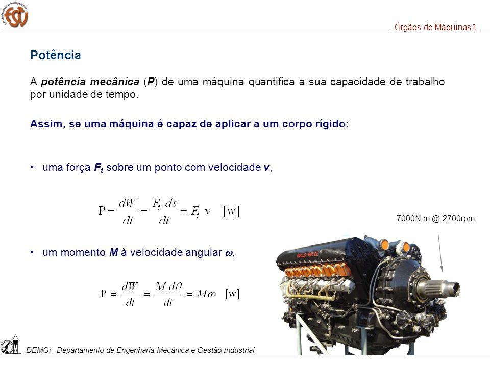 Órgãos de Máquinas I DEMGi - Departamento de Engenharia Mecânica e Gestão Industrial. Potência.