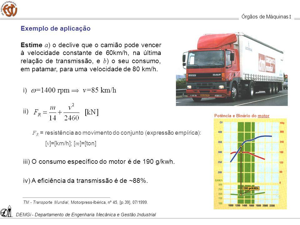 iii) O consumo específico do motor é de 190 g/kwh.
