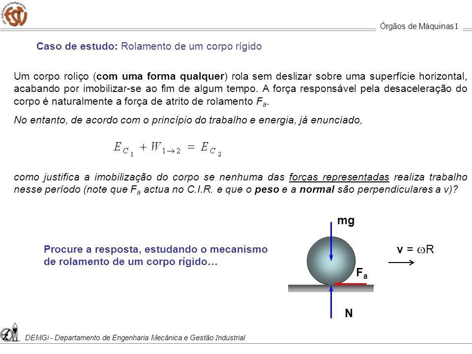 mg v = wR Fa N Caso de estudo: Rolamento de um corpo rígido