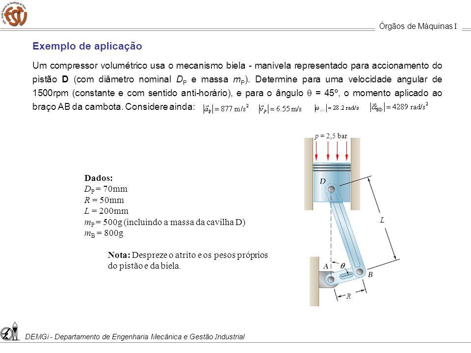 Órgãos de Máquinas I DEMGi - Departamento de Engenharia Mecânica e Gestão Industrial. Exemplo de aplicação.
