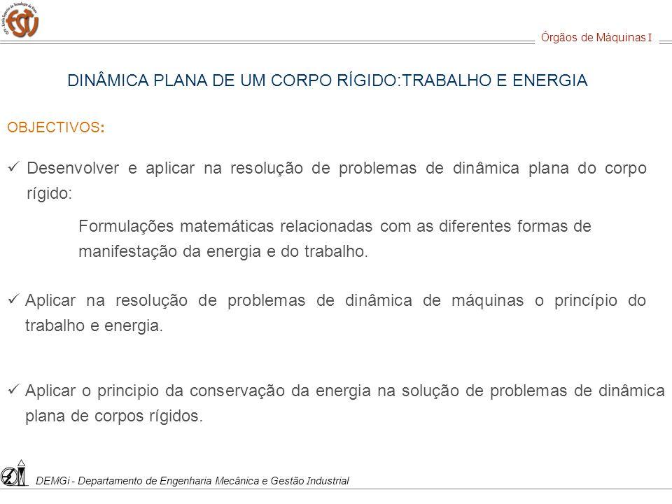 DINÂMICA PLANA DE UM CORPO RÍGIDO:TRABALHO E ENERGIA