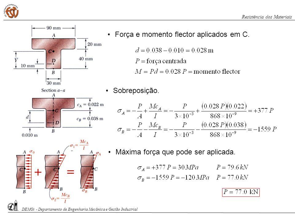 Força e momento flector aplicados em C.