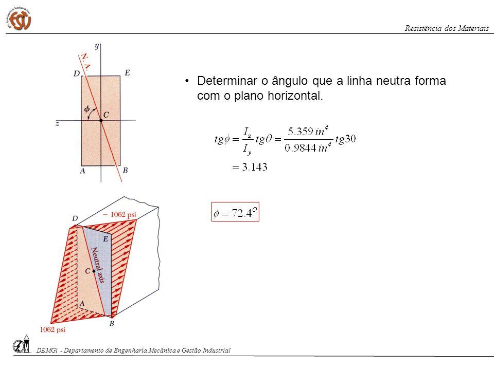 Determinar o ângulo que a linha neutra forma com o plano horizontal.
