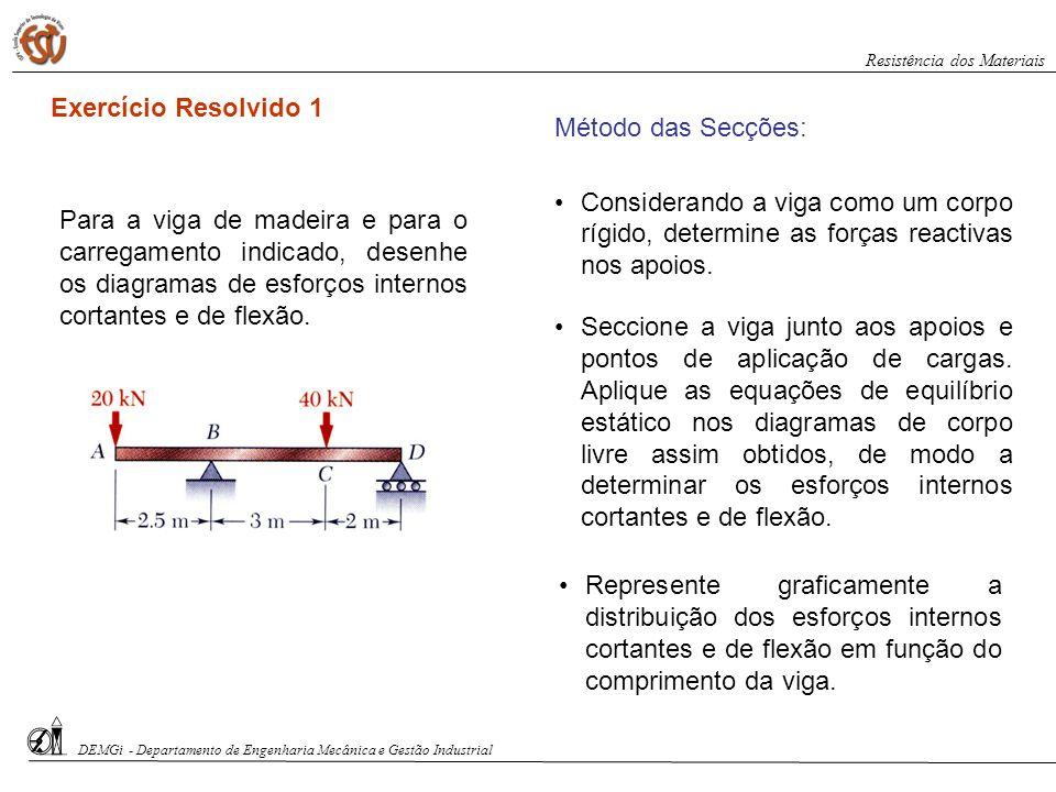 Exercício Resolvido 1 Método das Secções: