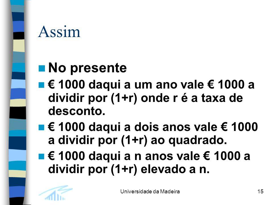 Assim No presente. € 1000 daqui a um ano vale € 1000 a dividir por (1+r) onde r é a taxa de desconto.