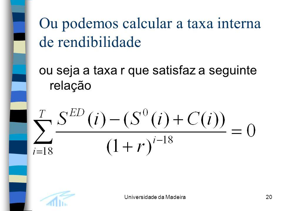 Ou podemos calcular a taxa interna de rendibilidade
