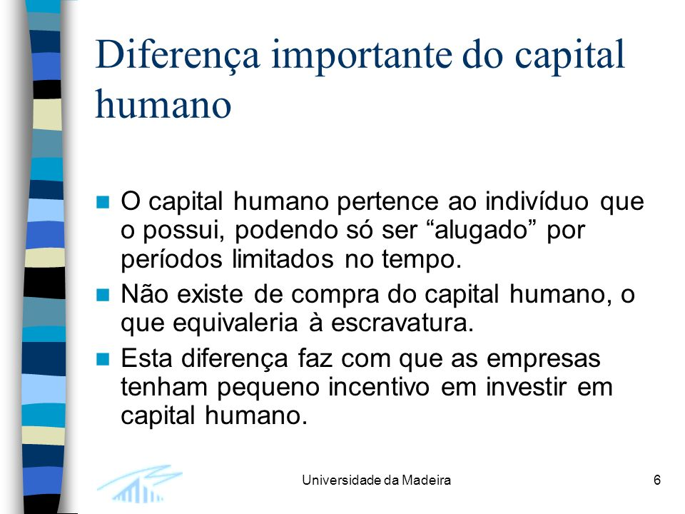 Diferença importante do capital humano