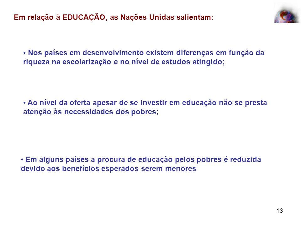 Em relação à EDUCAÇÃO, as Nações Unidas salientam: