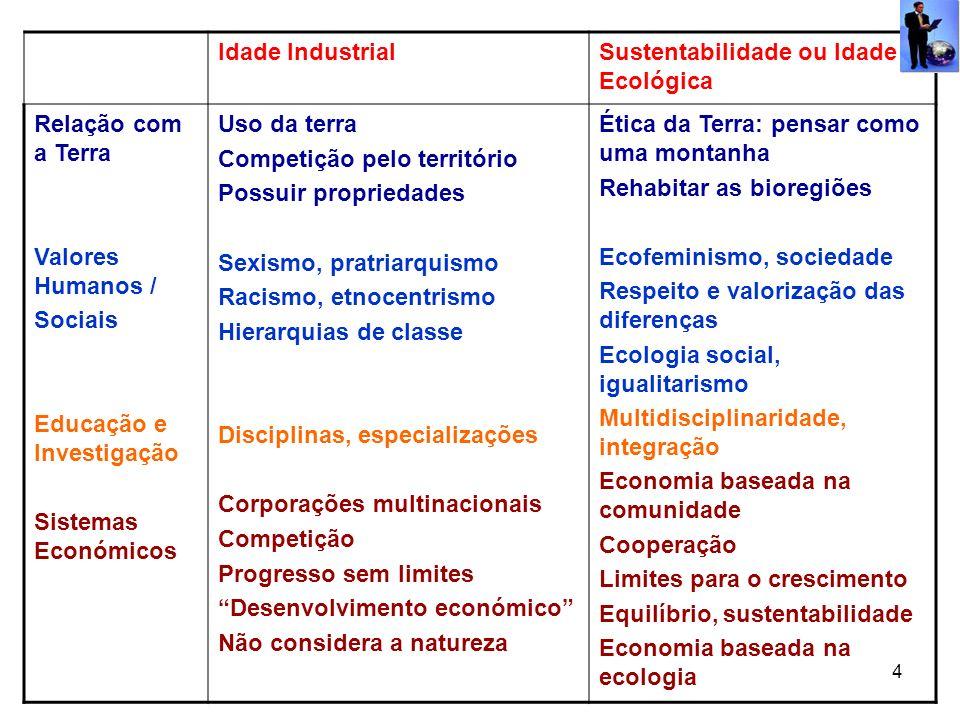 Idade Industrial Sustentabilidade ou Idade Ecológica. Relação com a Terra. Valores Humanos / Sociais.