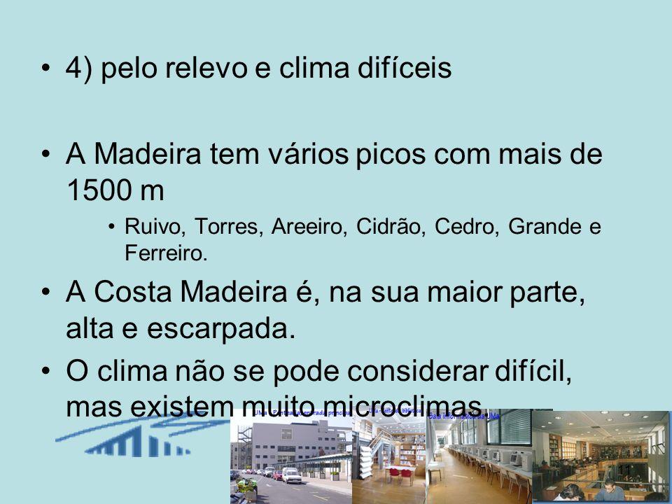 4) pelo relevo e clima difíceis