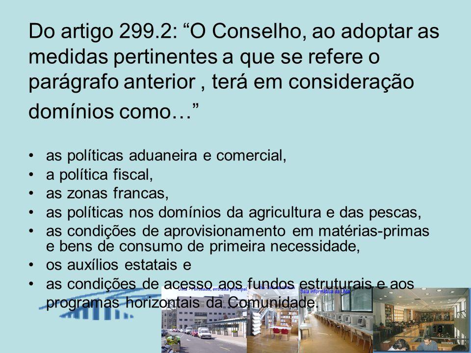 Do artigo 299.2: O Conselho, ao adoptar as medidas pertinentes a que se refere o parágrafo anterior , terá em consideração domínios como…
