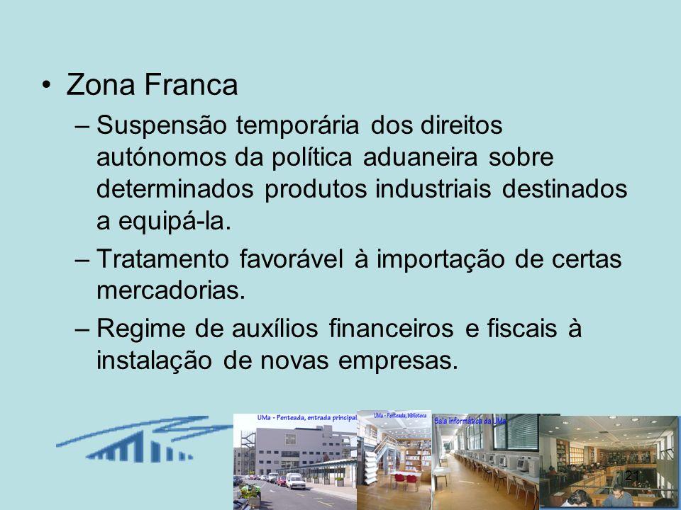 Zona FrancaSuspensão temporária dos direitos autónomos da política aduaneira sobre determinados produtos industriais destinados a equipá-la.