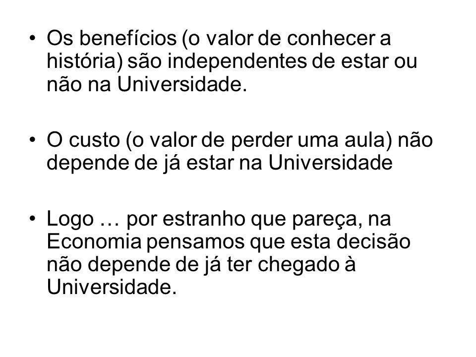 Os benefícios (o valor de conhecer a história) são independentes de estar ou não na Universidade.