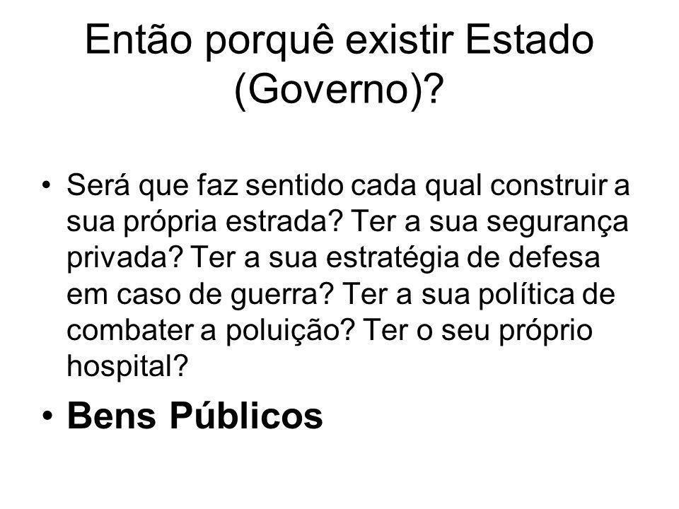 Então porquê existir Estado (Governo)
